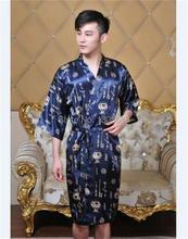 Blue Chinese Women's/Men's traditional silk  robe Gown Bathrobe Size: M L XL XXL(China (Mainland))