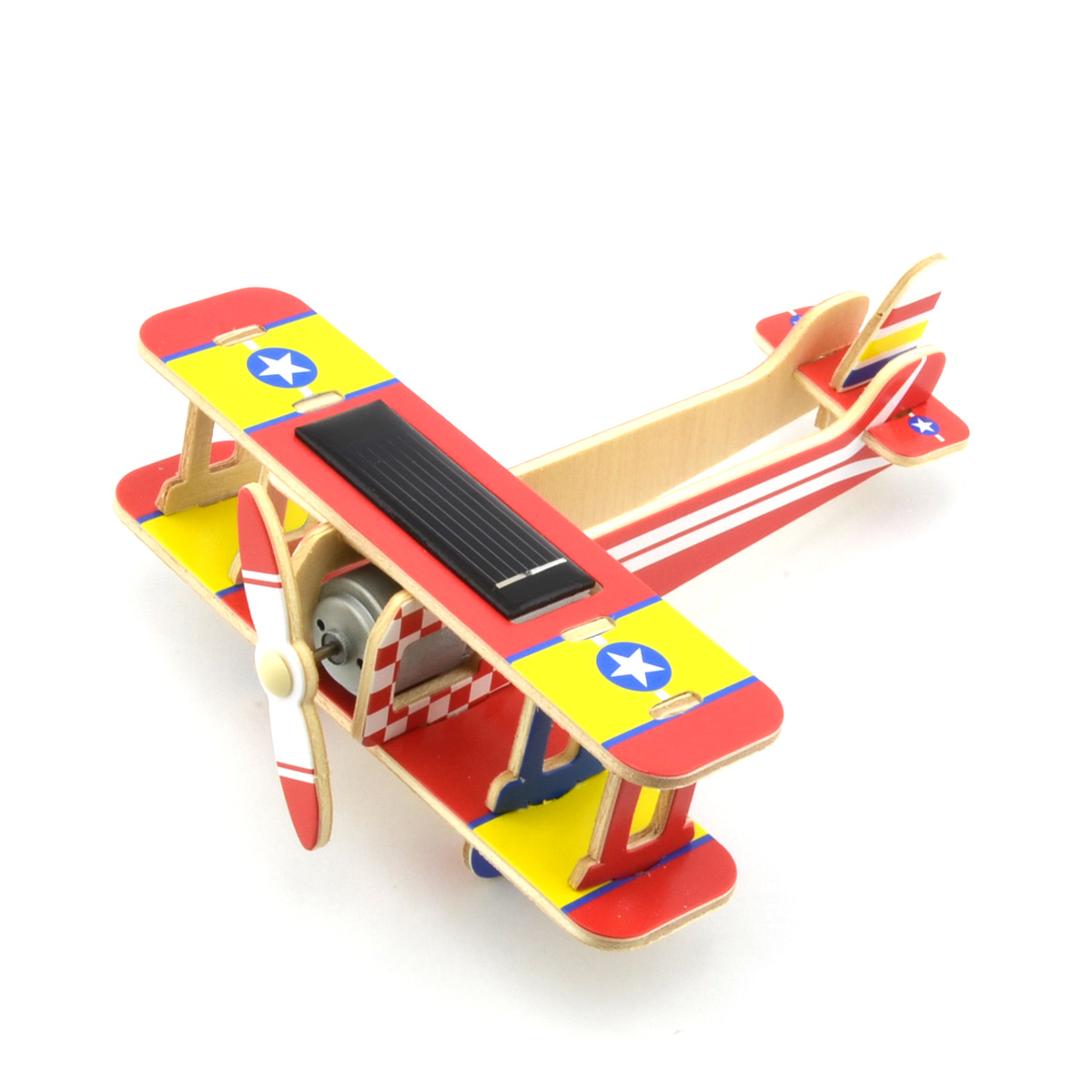 DIY Educational Assembly Puzzle Solar Powered 3D Wooden Veyron Plane Helicopter Aircraft Woodcraft Toy (Red)(China (Mainland))