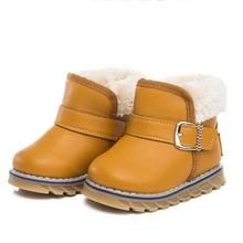 NEW Fashion Children Snow Boots Boys Girls Flat with Hook & Loop Warm Plush Ankle Boots Leather Shoes Kids Baby 02