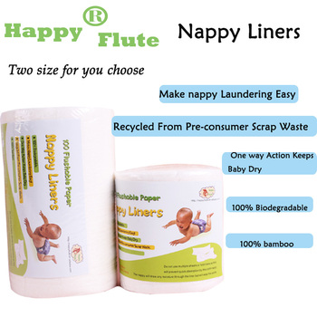 Happyflute100% Biodegradable & Flushable nappy liners cloth diaper liners100 sheets per roll
