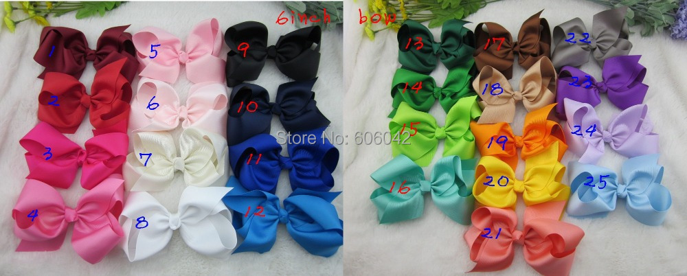 32pcs/lot,6 inch big ribbon bows,Girls' hair accessories hair bow withclip, hot selling bows for girl 25colors. free shipping(China (Mainland))