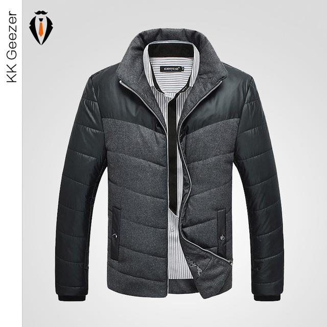 Осень Мужчины Куртка Классический Бренд Моды Плед Сплошной Цвет Тонкий Бурелом Пальто ...