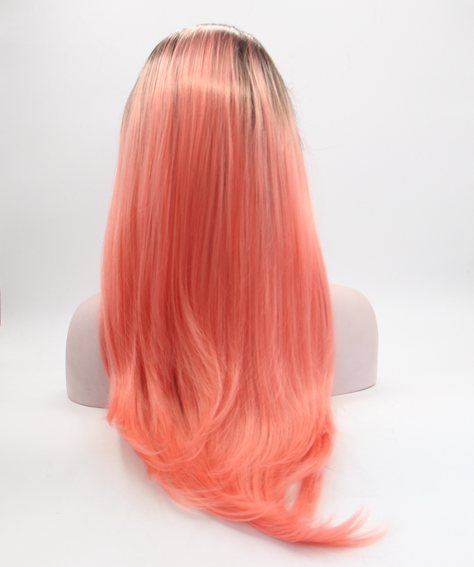 Milkyway black to pink tone synthetic lace front wig ombre lace front wig(China (Mainland))