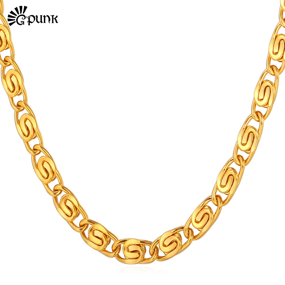 Snail Necklace For Men 18K Gold Plated Chain Necklace 316L Stainless Steel Snail Link Chain Wholesale 6mm Wide Jewelry N202G(China (Mainland))