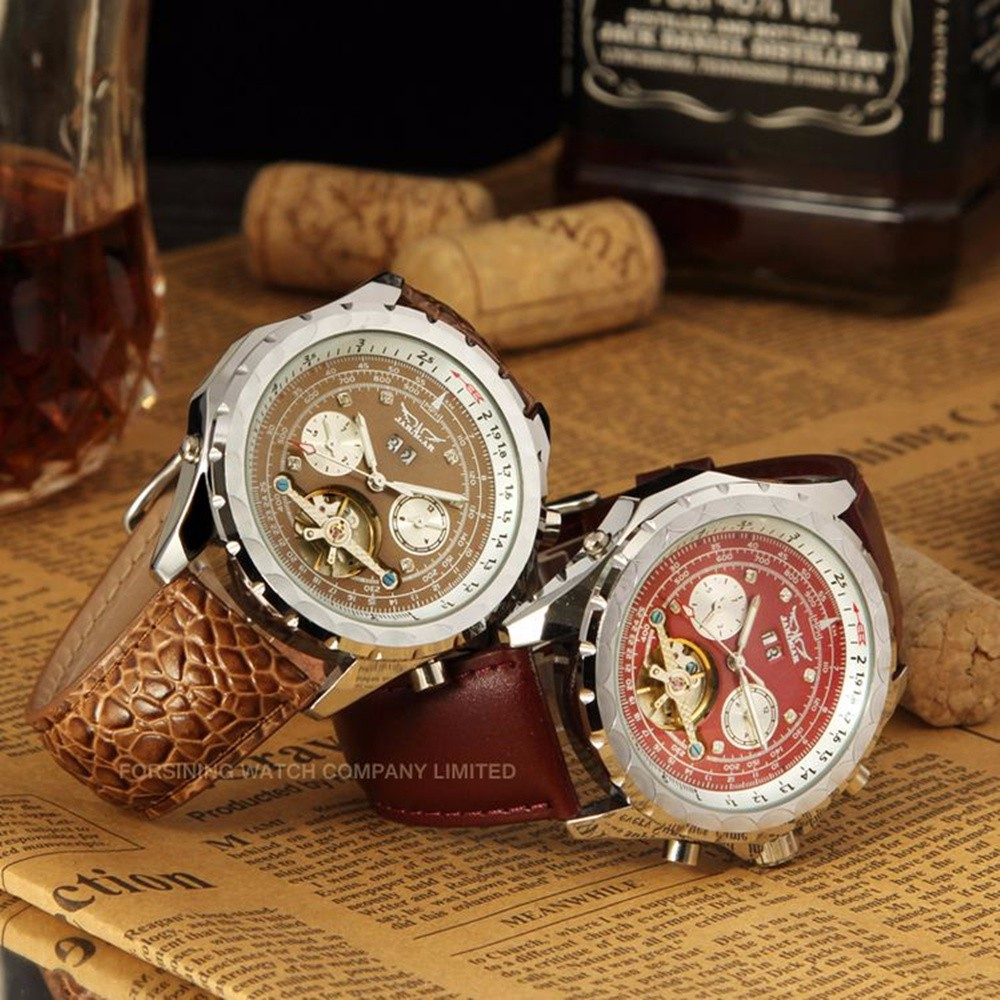 Best Gift For Man JARAGAR Watch Brand Top Japenese Automatic Movement Fashion Sport Watches High Quality Leather Strap Clock