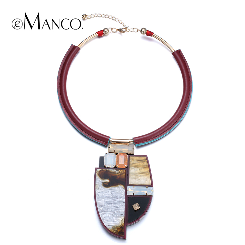 //Acrylic pendant choker collar necklace//leather statement necklace new arrival 2015 jewelry crystal necklaces for girls eManco(China (Mainland))