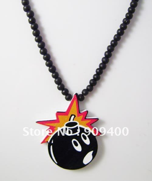 Fashion Hip Hop Good Wood Necklace Chain Pendant The Hundreds Bomb Wooden Jewelry Mixed Good Quality Wholesale(China (Mainland))