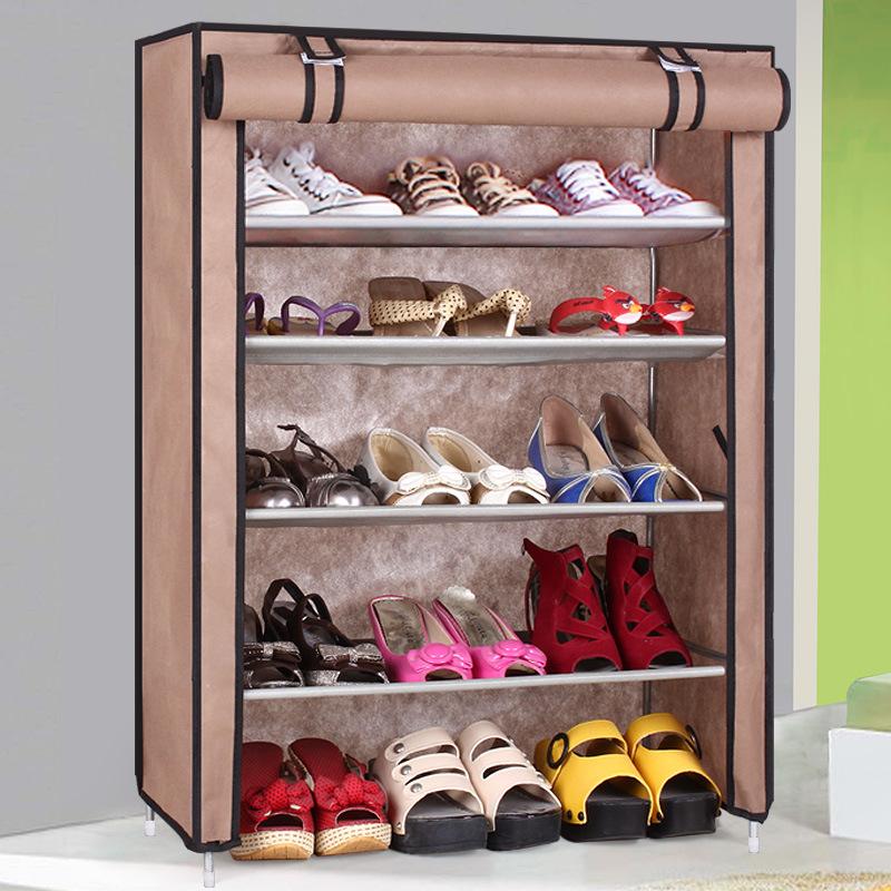 Shoe cabinet shoes storage organizer thick Non-woven fabric shoe racks home furniture single row DIY simple combined shoe shelf(China (Mainland))