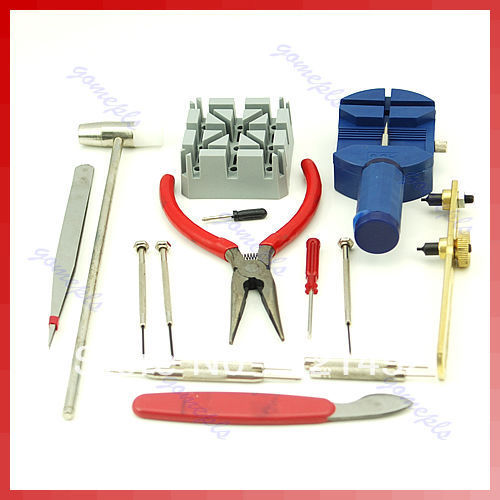 D19+Free Shipping 16 in1 Watch Case Open Repair Adjust Strap Tool Kit New(China (Mainland))