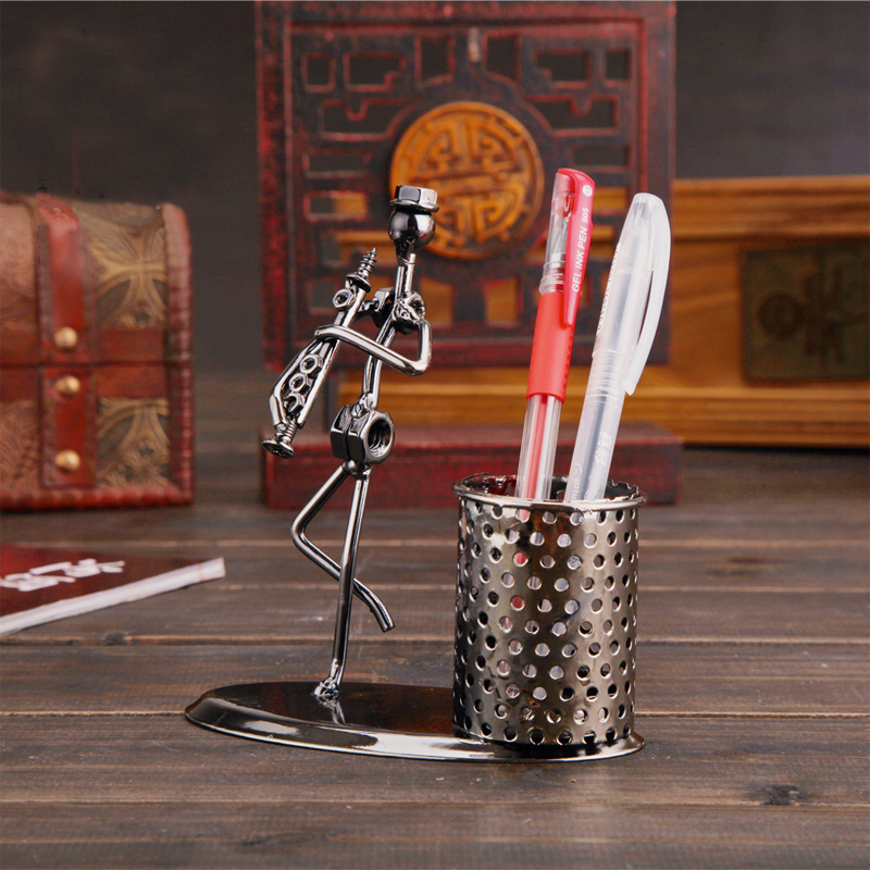popular calssical vintage music art style metal organizer stand for pencils pen vase holder office desk accessories planner(China (Mainland))