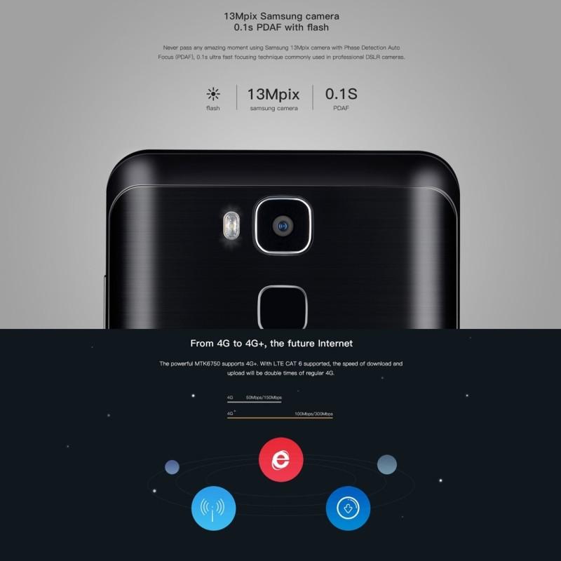 Original Doogee Y6 4G LTE Mobile Phone 2GB RAM 16GB ROM MTK6750 Octa Core 5.5″ Camera 16.0MP Android 6.0 Smartphone Fingerprint