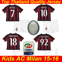 Kids AC Milan MENEZ PAZZINI POLI 2016 Soccer Jersey 15 16 Kids AC Milan Children Uniform Camiseta De 2015 Baby Boy Futball Shirt