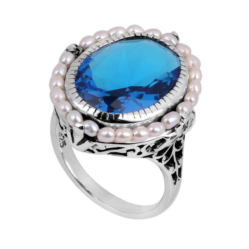 Blue color 2015 new sapphire jewels antique female wedding ring ring border flowers freshwater pearl 925 sterling silver ring(China (Mainland))