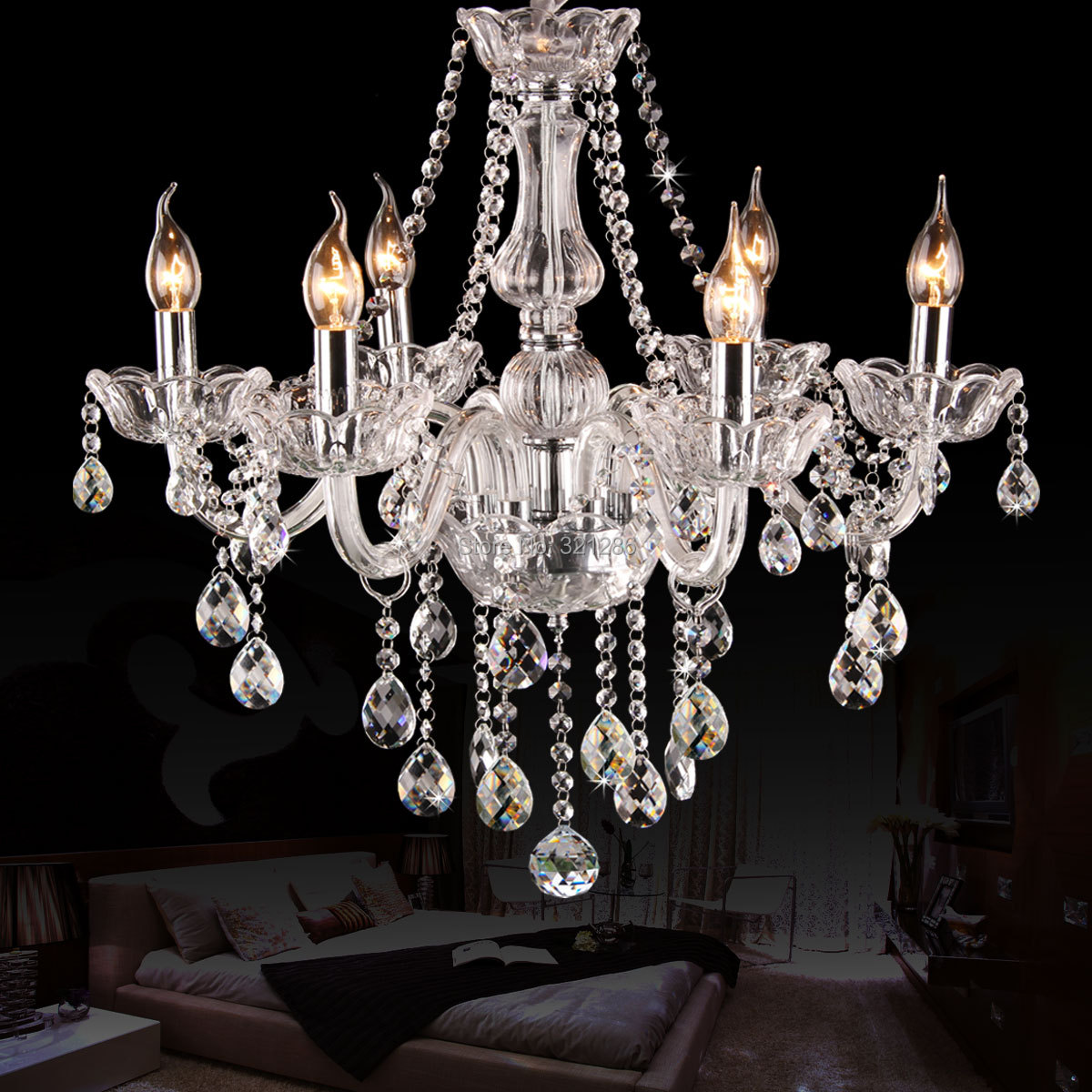 6 arms k9 crystal chandelier european candle crystal for Living room chandelier