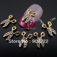 3D Alloy Glitters Rhinestone scissors gold plated Nail Art Decoration DIY metal nail jewelry 10pcs