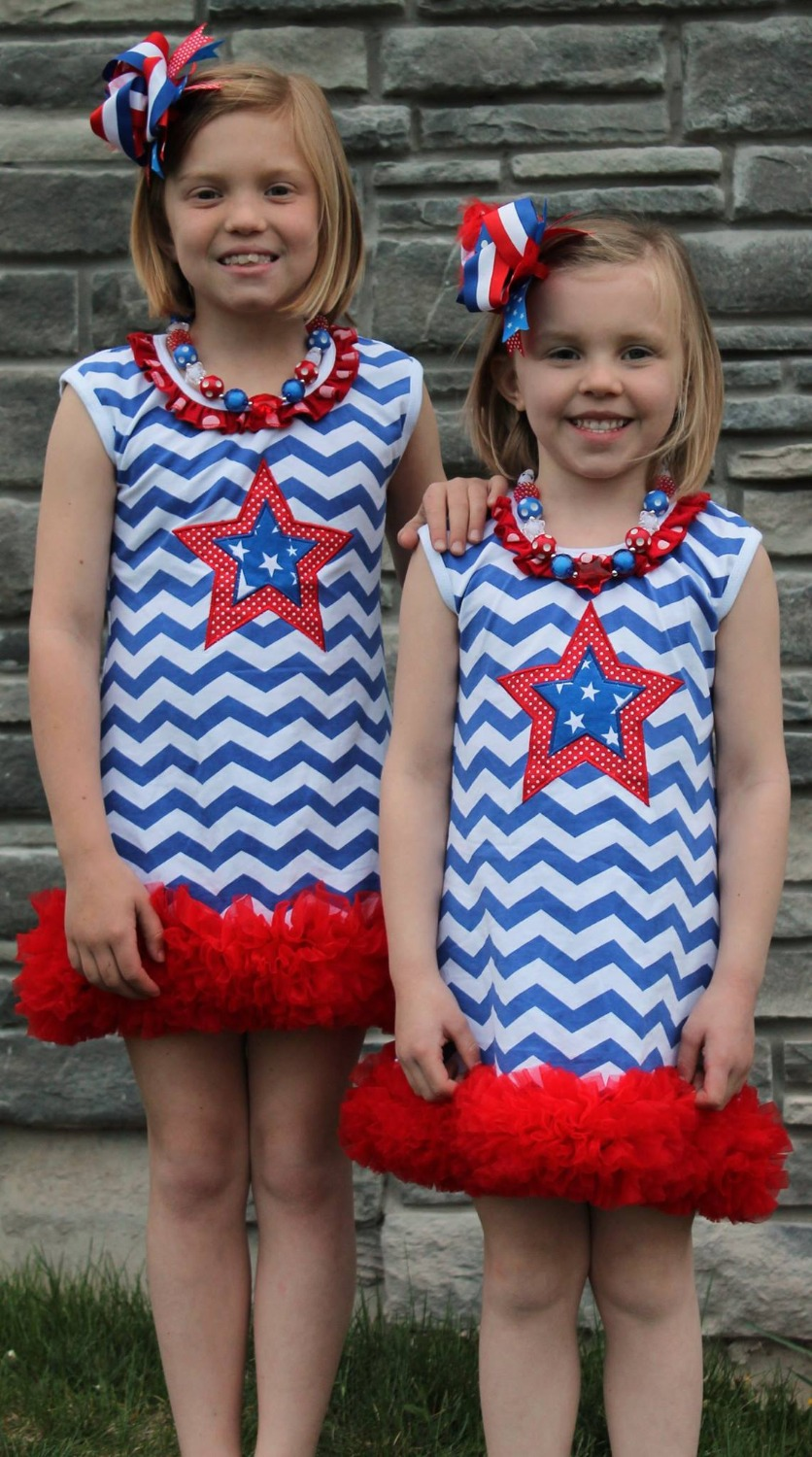 2015 hot sell baby girl july 4th dress A Line dress patriotic clothing with matching bow and necklace(China (Mainland))