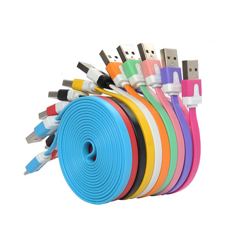 1M 3ft Colorful Flat Micro Usb Sync Data & Charge Cable For Samsung S3 S4 S5 for HTC Nokia Android phones new(China (Mainland))
