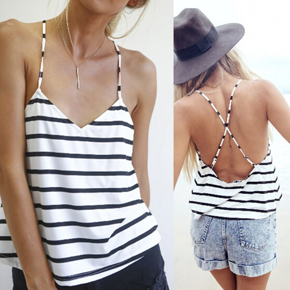 Feitong 2016 Summer Stye Casual Stripe Tank Top New Women Soft Cotton V-neck Sexy Strappy Cross Back Summer Hot Beach Tank Tops(China (Mainland))