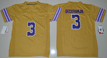 New Men's Youth 3 Odell Beckham Jr.College Jersey Blue Gold(China (Mainland))
