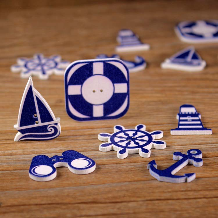 Mixed 60pcs Nautical Anchor Helm Wooden Button Sea steering wheel Scrapbook Apparel Sewing Craft Garment Botoes Accessories(China (Mainland))
