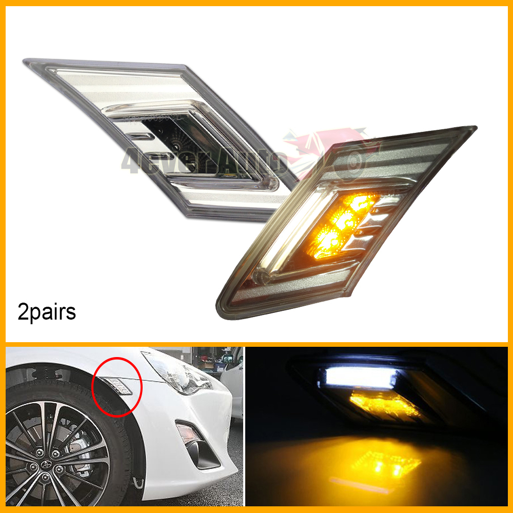 2 pairs White/Amber LED Clear Lens Side Marker Blinker Lights Fit 2013-up Scion FR-S Subaru BRZ<br><br>Aliexpress