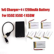 Free Shipping! 6pcs 3.7V 1200mAh Lipo Battery+Charger for Syma X5SW X5SC X5SC-1 RC Quad Drone