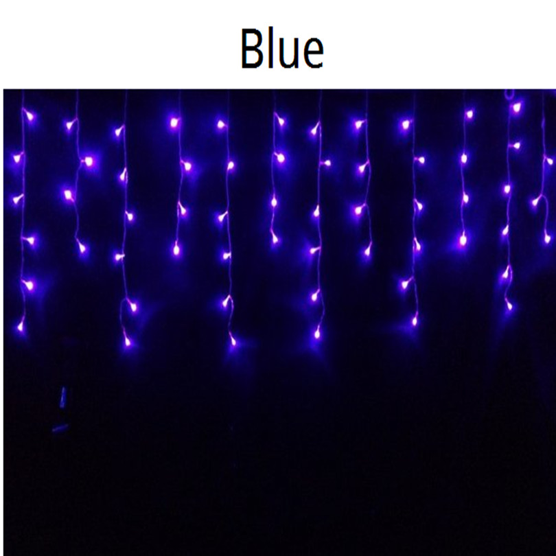 Garlands 100 LED curtains icicle lights navidad for wedding windown New year Party with 8 mode 110V 220V blue Free Shipping 1pcs(China (Mainland))