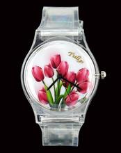 Flor del tulipán transparente reloj de cuarzo mujeres Ladies ofertas baratas relojes de pulsera