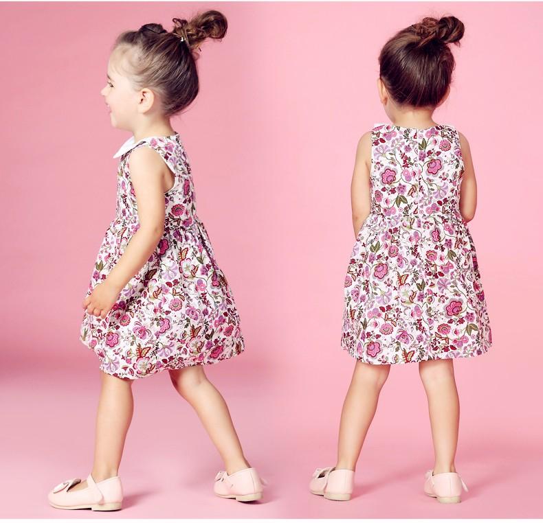 Скидки на 2016 Лето Девочка Питер Пэн Воротник Платья для Новорожденных детская Одежда возраст 2 3 4 5 6 7 8 Т Лет Платьице Девочки дизайн