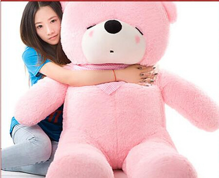 huge plush pink teddy bear toy large sleeping bear toy stuffed big pink teddy bear gift 180cm(China (Mainland))