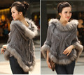 Fahion Luxury Women s Genuine Real Rabbit Fur Raccoon Fur Trimming Knitted pullovers Stole Cape Poncho