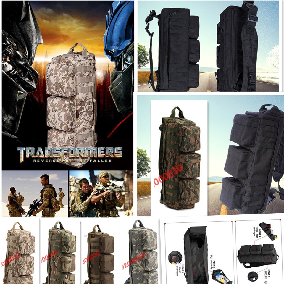 Go bag Tactical Backpack, Military camping outdoor sport long Bags Transformers charge package