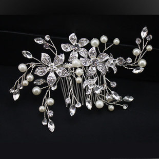 Wedding Headdress Pearl Hair Jewelry Bride Hand Made Rhinestone Hairwear Hairpins Alloy Ornaments Crystal Hand made Top quality(China (Mainland))