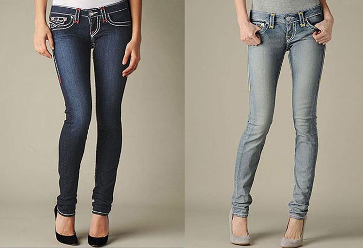 Бесплатная доставка новые женские истинные фирменные джинсы мода вырезать загрузки узкие брюки тощий синий цвет джинсы для женщин