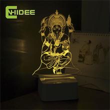 Nueva CNHIDEE novedad grabado Manjushree Ganesh luces de mesa vendimia lámpara de noche 3d cristal noche Usb llevó vestíbulo de la decoración del hogar(China (Mainland))