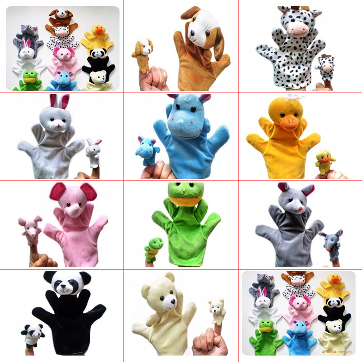G1 Plush Cartoon Stuffed Dolls Plush 10kinds Animals Hand Puppets+Finger Puppets Kids/Baby Plush Toys Talking Props 5set/lot<br><br>Aliexpress