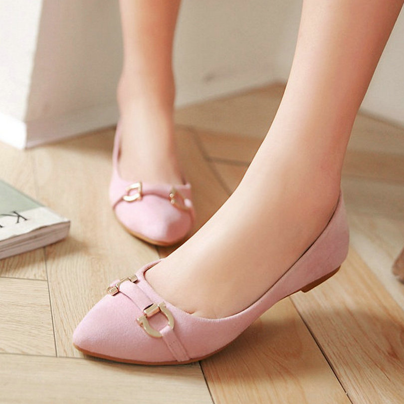 Size 34-39 Women Fashion Ballet Flats Sweet Pink Lady Sequined Causal Shoes Slip on Woman Pointed Toe Flat Heel Shoes 3 Colors(China (Mainland))