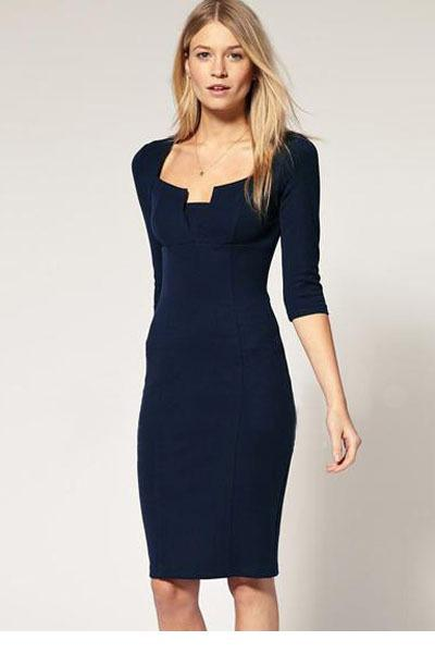 Dress party vestido curto Exquisite Solid Neckline Navy Pencil Dress New 2015 sexy woman summer dresses women clothing L0530(China (Mainland))