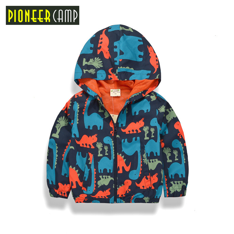 Pioneer Kids New Arrival 2017 Baby Boy 90-140cm Spring Jackets Outerwear Dinosaur Hooded Softshell Jacket For Boys Kids Coat(China (Mainland))