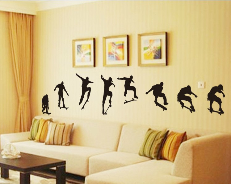60*90CM PVC Creative Paper-cut Wall Stickers Home Decor Living Room Skate Boy Funny Wall Decals Home Decoration Accessories L60(China (Mainland))