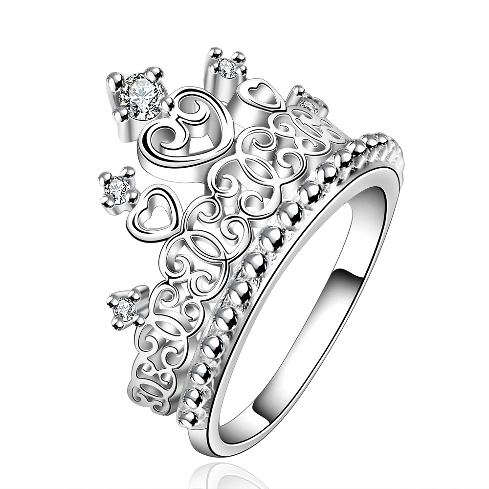 15 pieces/lot Top Brand Copper Silver jewelry AAA+ the princess Crown Ring Women Gift for date(China (Mainland))