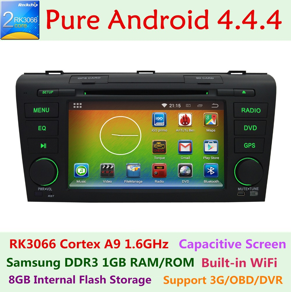 2din Pure Android 4.4.4 Mazda 3 Mazda3 2004-2009 Car DVD Multimedia Player 3G wifi Radio GPS Navigation Capacitive touch screen(China (Mainland))