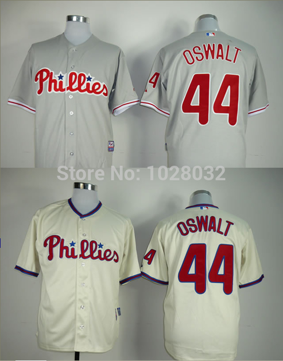Best! Cheap Philadelphia Phillies Jersey #44 Roy Oswalt Jersey Authentic Cool Base Jersey Baseball Gray/Cream,Embroidery,Size S~(China (Mainland))