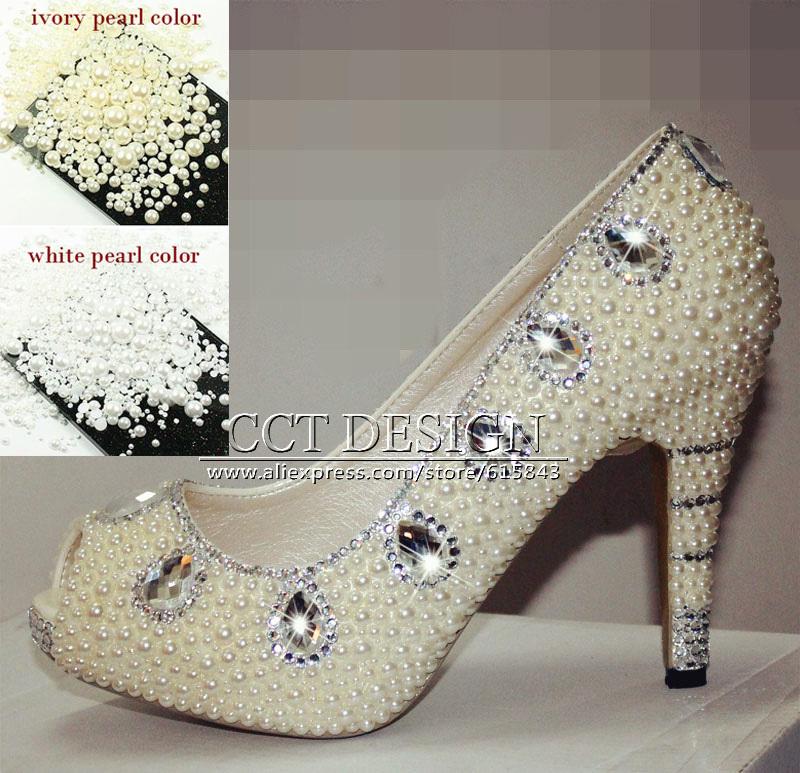 Fashion Women Peep Toe Platforms Silver Diamond And White Ivory Pearls Wedding Shoes Rhinestone Party Prom High Heels<br><br>Aliexpress