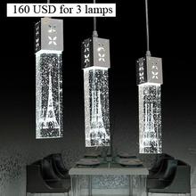 Modern Led bar counter lamp single crystal bubble column three head pendant light lighthouse column lights(China (Mainland))