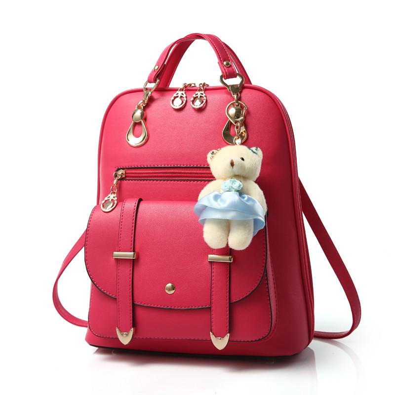 2017 New Lovely package Women Backpack PU Leather kanken backpack Mochila feminina Mochila mujer White Black school Bagpack(China (Mainland))