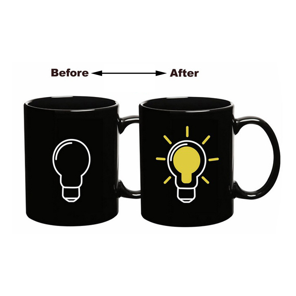 Bulb Color Changing Mug Ceramic Cup Temperature Changing Color Cup Dinnerware Enrich your life(China (Mainland))
