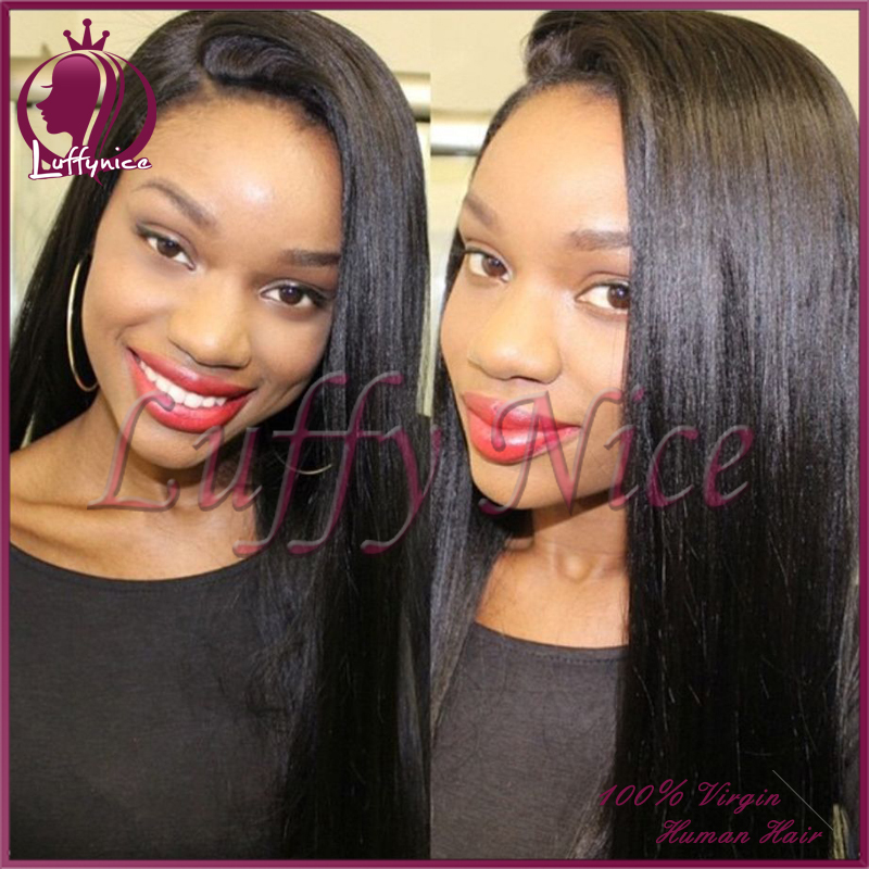 Full lace human hair wigs light yaki straight full lace wig &amp; glueless lace front human hair wigs for black women bleached knots<br><br>Aliexpress