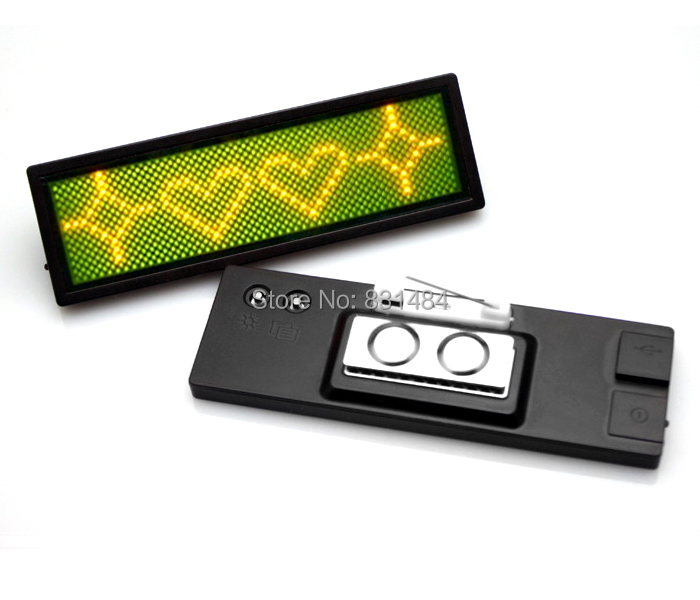 100pcs/lot Scrolling LED Name Badge Moving Message Display Sign Board/program/message Advertising Rechargeable Yellow 12*48 dots(China (Mainland))