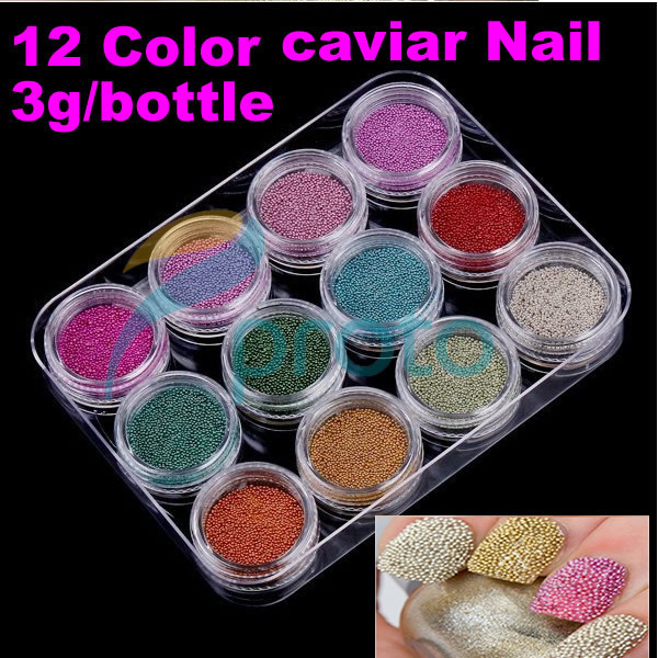 10sets/lot 12 Color Nail Art Acrylic Beads Caviar Nail Decoration for Nail Beauty D0025 Wholesale